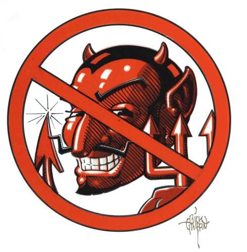Antitese ao Satanismo: Imagem de um desenho de satã com um simbolo de proibido