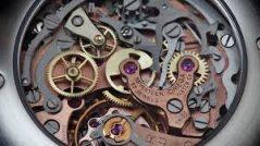 Não pareça perfeito demais: imagem da máquina de um relógio complexo