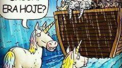 """Unicórnios olham a arca de noé depois de ter partido e se perguntam """"droga, era hoje?!"""""""